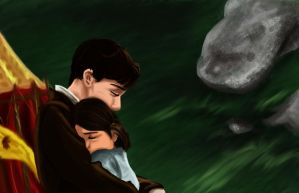 Narnia - Edmund and Lucy Hug by picklelova