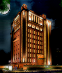 police building at night by GhostRunner