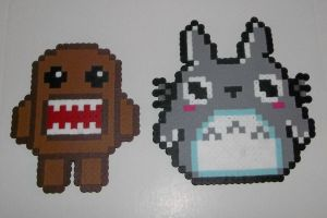 Domo and Totoro Perler by vale58
