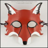 Red Fox leather mask by EirewolfCreations