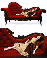 Red Chaise Longue SD size for 65 cm dolls by Katja-dollab