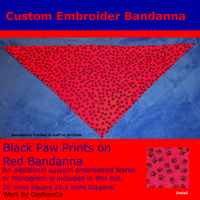 Solid Red Background With Black Paw Prints 4SALe by CeshionCo
