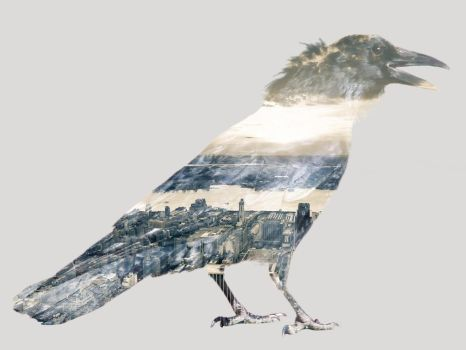 Double Exposure Crow by TheHeartwoodStudio