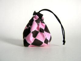 Pink and Black Tiny Dice Bag by mousch