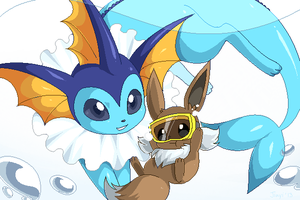 Vaporeon and Eevee!! by Jiayi