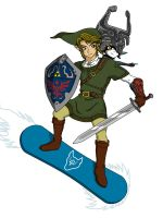 Link and Midna snowboarding by Patas-sama