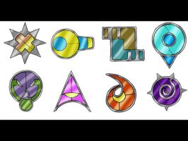 Nurrou Gym badges by Marix20