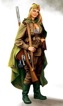 Soviet female sniper by anderpeich
