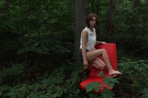 Red Chair in Forest by lavendercustard