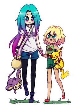 Naru and Zoe, pokemon trainers by NarumyNatsue