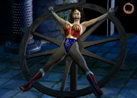 Wonder Woman on the wheel rack by Uroboros-Art