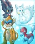 Pachirisu, Monferno, Porygon2, and Misdreavus by Chibixi