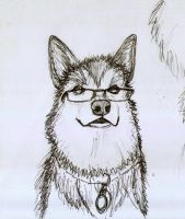 Sketch pencil dog wearing glasses by Draconica5