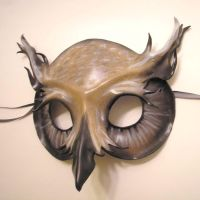 Horned Owl Leather Mask - Grey by teonova