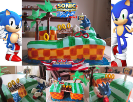 Sonic Generations Cake Project- Green Hill Zone by iluvcookiess
