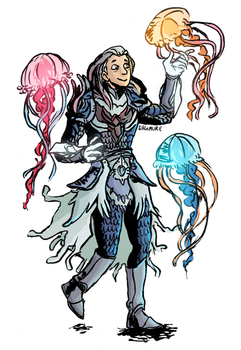 COMMISSION: Jellyfish guardian by littleMURE