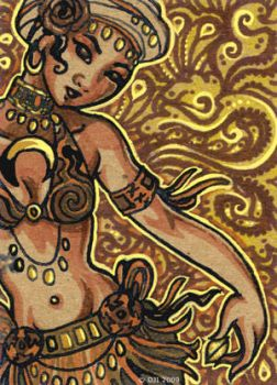Gold + Paisley - ACEO by sphinxmuse