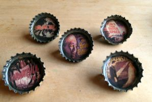 Monster Movie Bottlecap Pins by tencrowns-studio