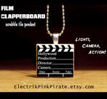 Film Clapperboard tile pendant by ElectrikPinkPirate