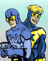 booster gold and blue beetle by battlescar