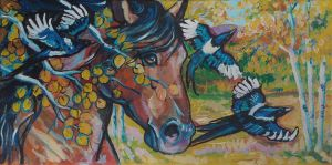 Fall horse with magpies by jupiterjenny