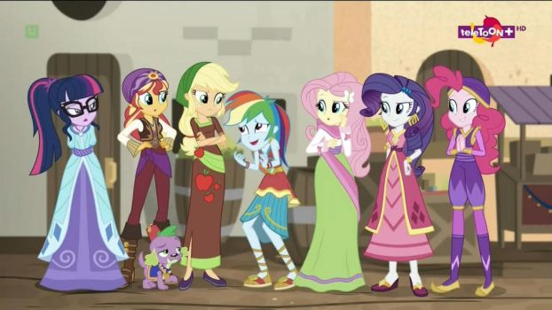 The Girls giving Rainbow Dash a look by Starman1999
