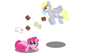 Spam, Derpy, Pinkie and Spam by mattbas