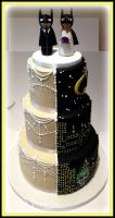 Batman and Traditional Split Wedding Cake! by gertygetsgangster
