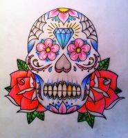 day of the dead skull, sugar skull by CalebSlabzzzGraham
