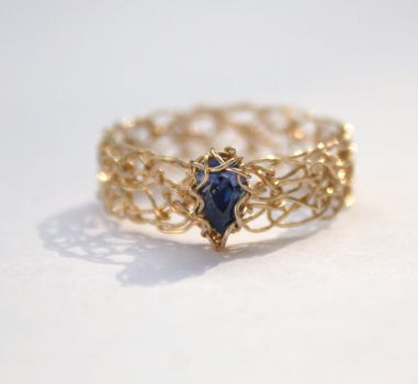 Tanzanite CZ Gold Crochet Ring by WrappedbyDesign