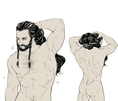 Thorin Oakenshield with a ponytail by EuticphicL