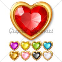 Jewel Hearts Vector by kingofvectors