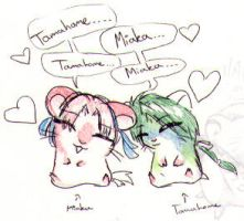 Miaka and Tamahome Hamsters by sanosukerulez