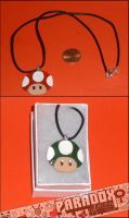 1Up + Super Mushrooms Necklace by Paradox-Artistry