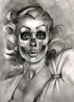 Skull Faced Pinup by ChipWhitehouse