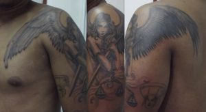 Anjo tattoo in progress by Juliano-Pereira