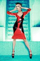 Kerri Tayor Black And Red Latex Dress by modelkerritaylor