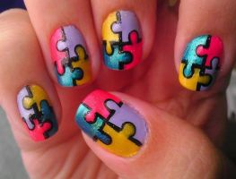 Puzzle/Autism Awareness Nail Art by wolfgirl4716