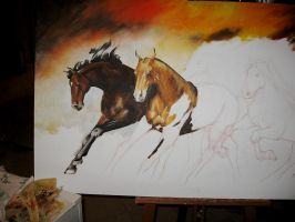 Horses...in progress by sanguigna