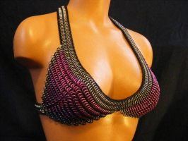 custom pink silver and stretchy bra C-D cup by BacktoEarthCreations