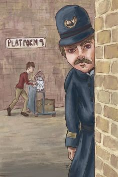 Daily Drawing Challenge #8  Platform 9 3/4 by Debra-Marie