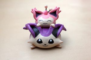 Skitty and Delcatty Chibi Tower by lonelysouthpaw