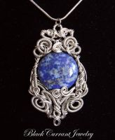 Lazuli Moon Pendant by blackcurrantjewelry