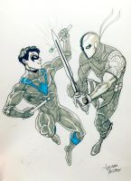 Nightwing vs Deathstroke commission by LucianoVecchio