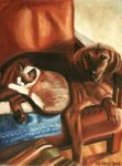 Cat and Dog on Sofa by Moni3