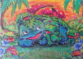 Venusaur with little Bulbasaurs by Pikabulbachu