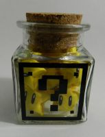 Glass Mario Block Jar with Origami Power Stars by AnimeAmy