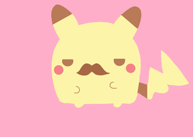 Kawaii Pikachu with mustache by KawaiiBow100