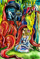 Adult Alice and the Cheshire Cat by zoiocen