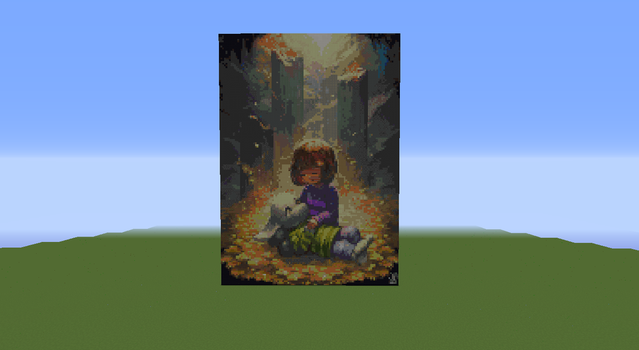 Asriel and Frisk Pixel Art by psparrow
